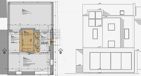 grundriss schnitt ansicht gel nder f r au en. Black Bedroom Furniture Sets. Home Design Ideas